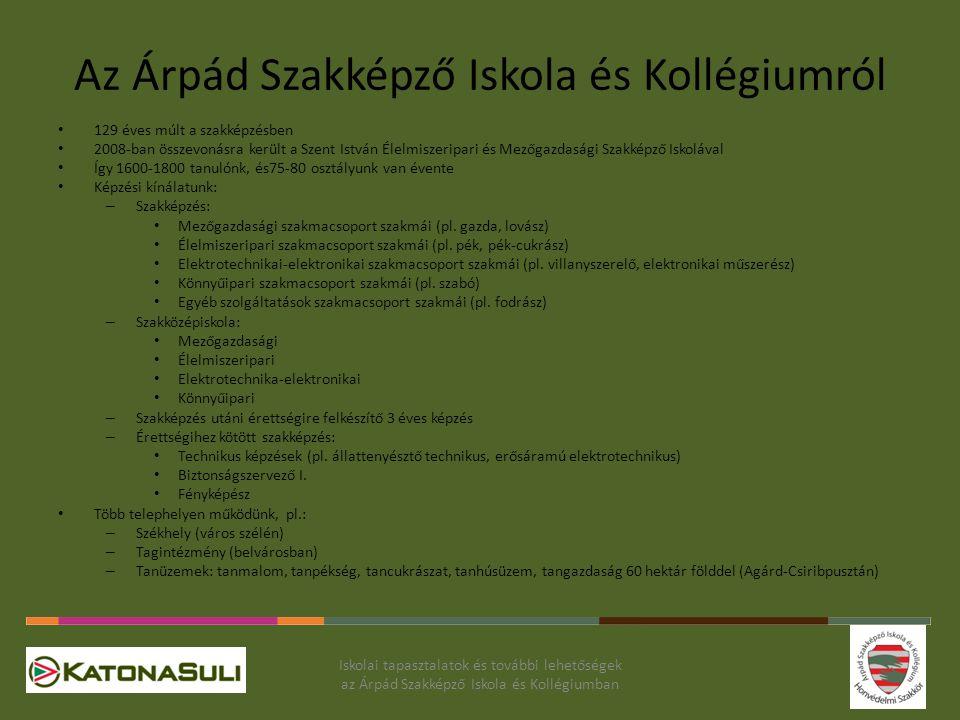 Az Árpád Szakképző Iskola és Kollégiumról 129 éves múlt a szakképzésben 2008-ban összevonásra került a Szent István Élelmiszeripari és Mezőgazdasági S