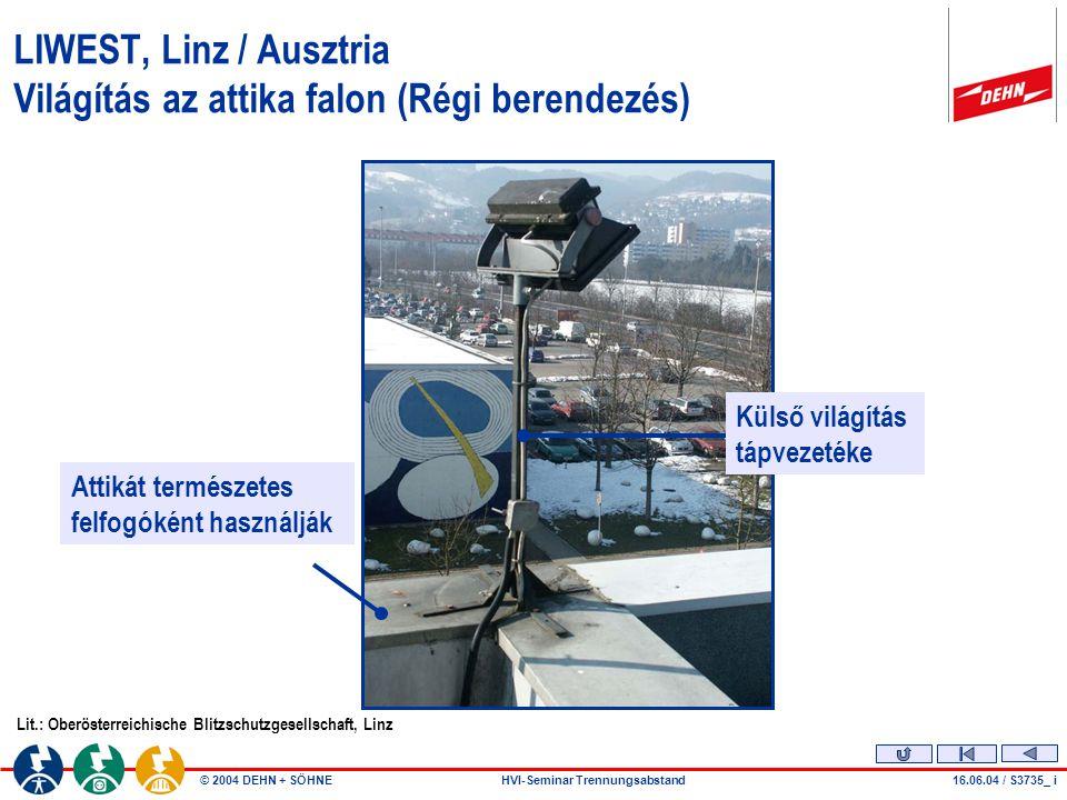 """© 2004 DEHN + SÖHNEHVI-Seminar Trennungsabstand Veszélyes megközelítés """"s Problémát okozhatnak a fém vezetékek 28.07.04 / S2952_a L Például vill."""