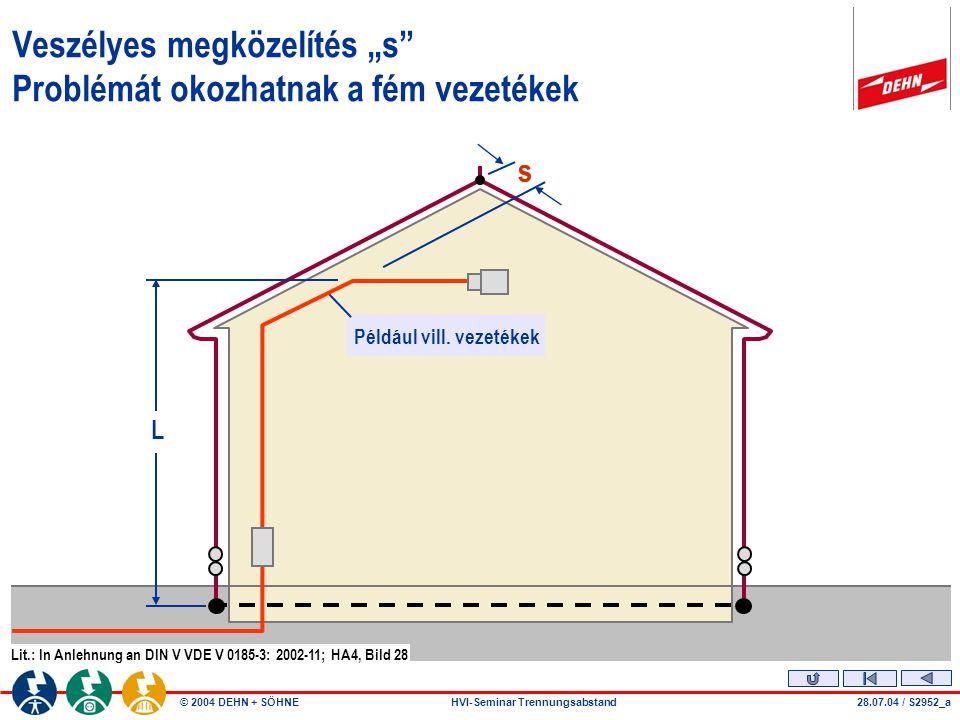 """© 2004 DEHN + SÖHNEHVI-Seminar Trennungsabstand Veszélyes megközelítés """"s"""" Problémát okozhatnak a fém vezetékek 28.07.04 / S2952_a L Például vill. vez"""