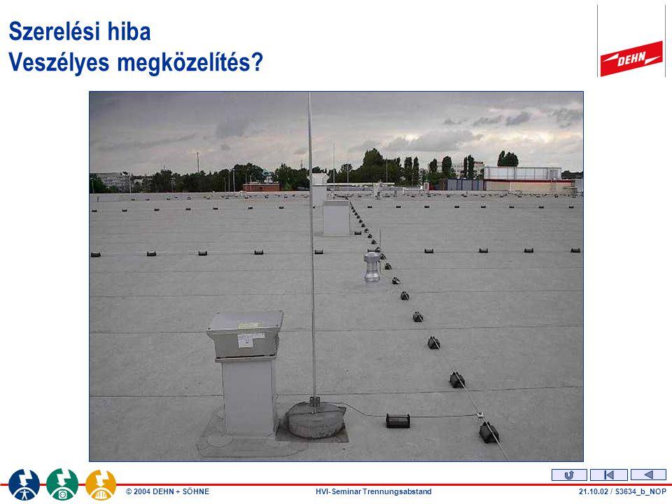 © 2004 DEHN + SÖHNEHVI-Seminar Trennungsabstand28..07.04 / S3709 Veszélyes megközelítés – nincs figyelembevéve!.