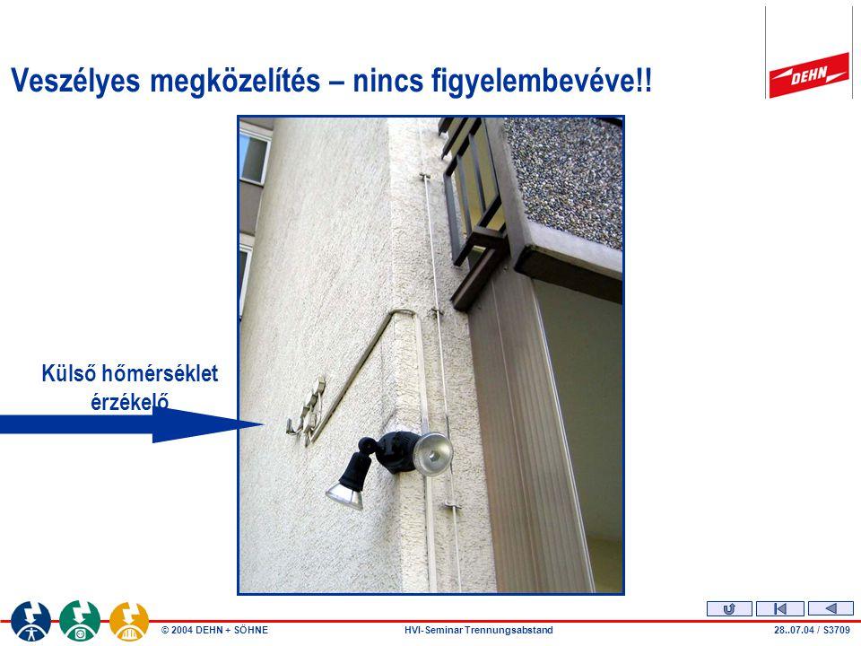 © 2004 DEHN + SÖHNEHVI-Seminar Trennungsabstand Szerelési hiba Veszélyes megközelítés.