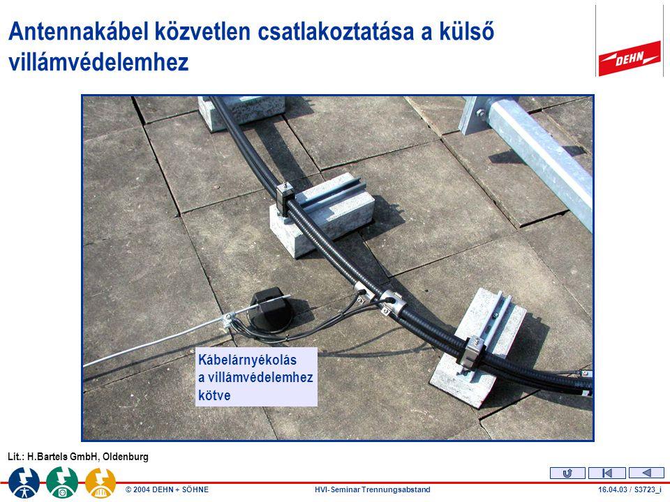 © 2004 DEHN + SÖHNEHVI-Seminar Trennungsabstand11.02.04 / S3761_a - KPM Mobil állomás összetevői Magasépület Villámvédelmi csatlakozás Attika Antenna- kábelek