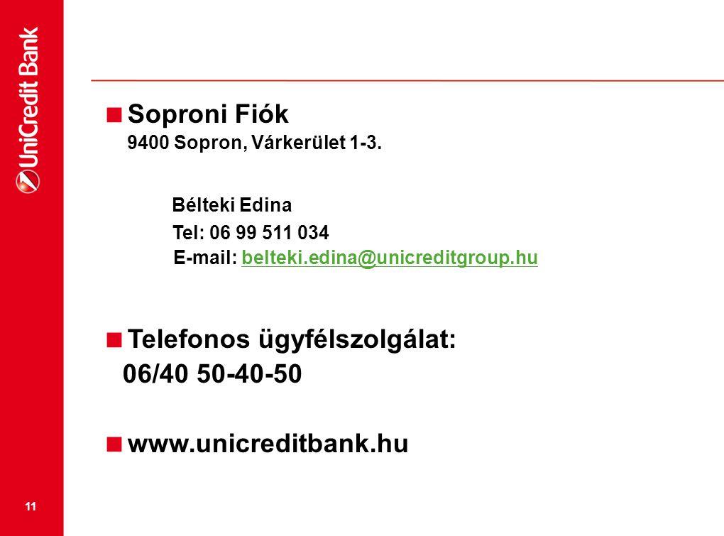 11  Soproni Fiók 9400 Sopron, Várkerület 1-3. Bélteki Edina Tel: 06 99 511 034 E-mail: belteki.edina@unicreditgroup.hubelteki.edina@unicreditgroup.hu
