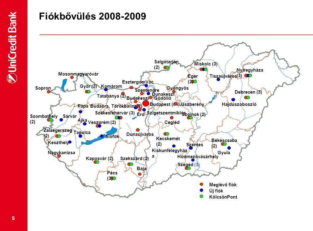 5 Fiókbővülés 2008-2009 Budapest (64) Mosonmagyaróvár Sopron Győr (3) Esztergom Tatabánya (2) Szombathely (2) Veszprém (2) Zalaegerszeg (2) Nagykanizs