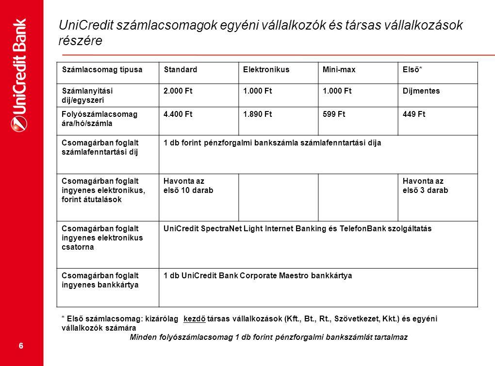6 UniCredit számlacsomagok egyéni vállalkozók és társas vállalkozások részére * Első számlacsomag: kizárólag kezdő társas vállalkozások (Kft., Bt., Rt