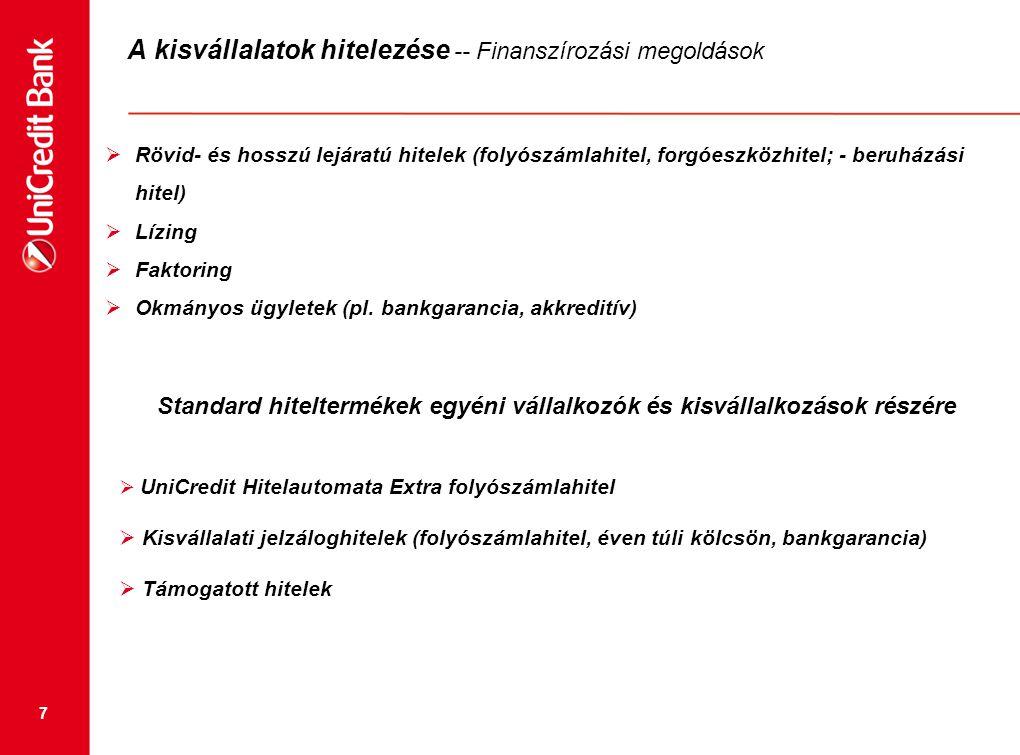 7 A kisvállalatok hitelezése -- Finanszírozási megoldások  Rövid- és hosszú lejáratú hitelek (folyószámlahitel, forgóeszközhitel; - beruházási hitel)