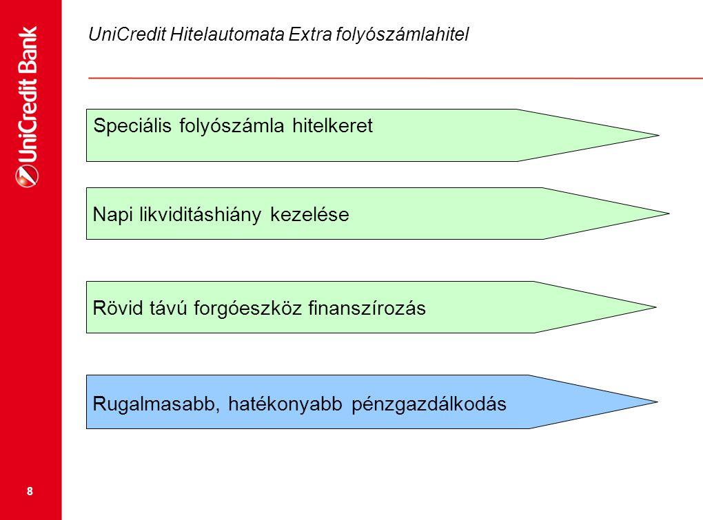 8 UniCredit Hitelautomata Extra folyószámlahitel Napi likviditáshiány kezelése Speciális folyószámla hitelkeret Rövid távú forgóeszköz finanszírozás R
