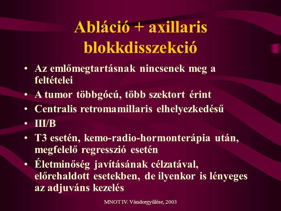 MNOT IV. Vándorgyűlése, 2003 Abláció + axillaris blokkdisszekció Az emlőmegtartásnak nincsenek meg a feltételei A tumor többgócú, több szektort érint