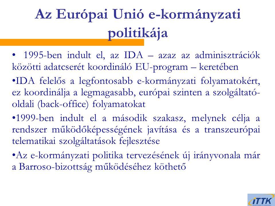 1995-ben indult el, az IDA – azaz az adminisztrációk közötti adatcserét koordináló EU-program – keretében IDA felelős a legfontosabb e-kormányzati folyamatokért, ez koordinálja a legmagasabb, európai szinten a szolgáltató- oldali (back-office) folyamatokat 1999-ben indult el a második szakasz, melynek célja a rendszer működőképességének javítása és a transzeurópai telematikai szolgáltatások fejlesztése Az e-kormányzati politika tervezésének új irányvonala már a Barroso-bizottság működéséhez köthető Az Európai Unió e-kormányzati politikája