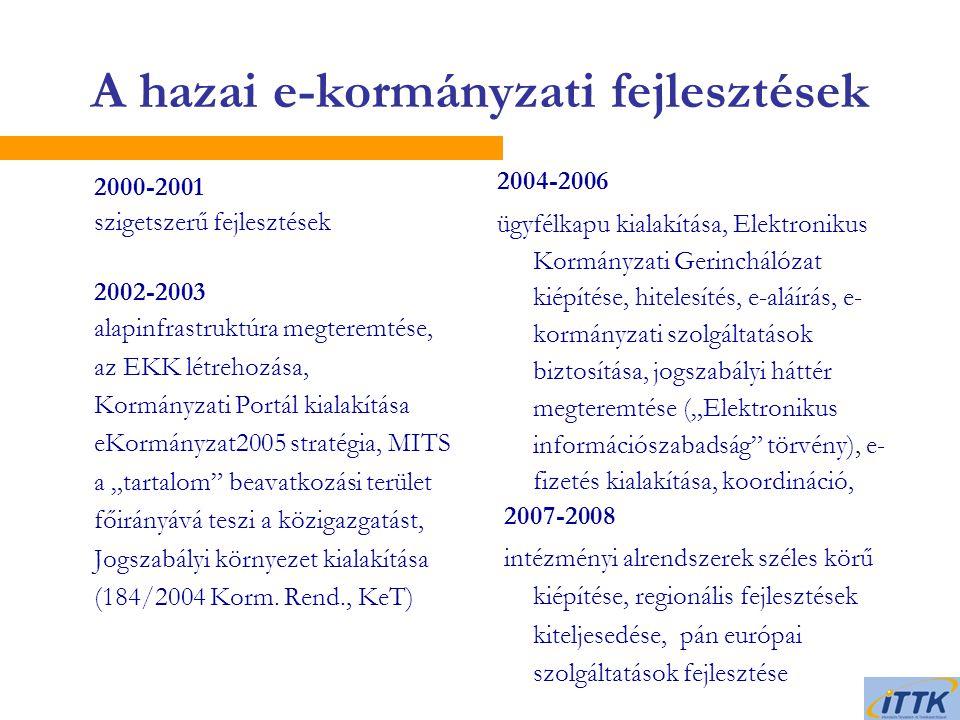 """A hazai e-kormányzati fejlesztések  2000-2001 szigetszerű fejlesztések  2002-2003 alapinfrastruktúra megteremtése, az EKK létrehozása, Kormányzati Portál kialakítása eKormányzat2005 stratégia, MITS a """"tartalom beavatkozási terület főirányává teszi a közigazgatást, Jogszabályi környezet kialakítása (184/2004 Korm."""