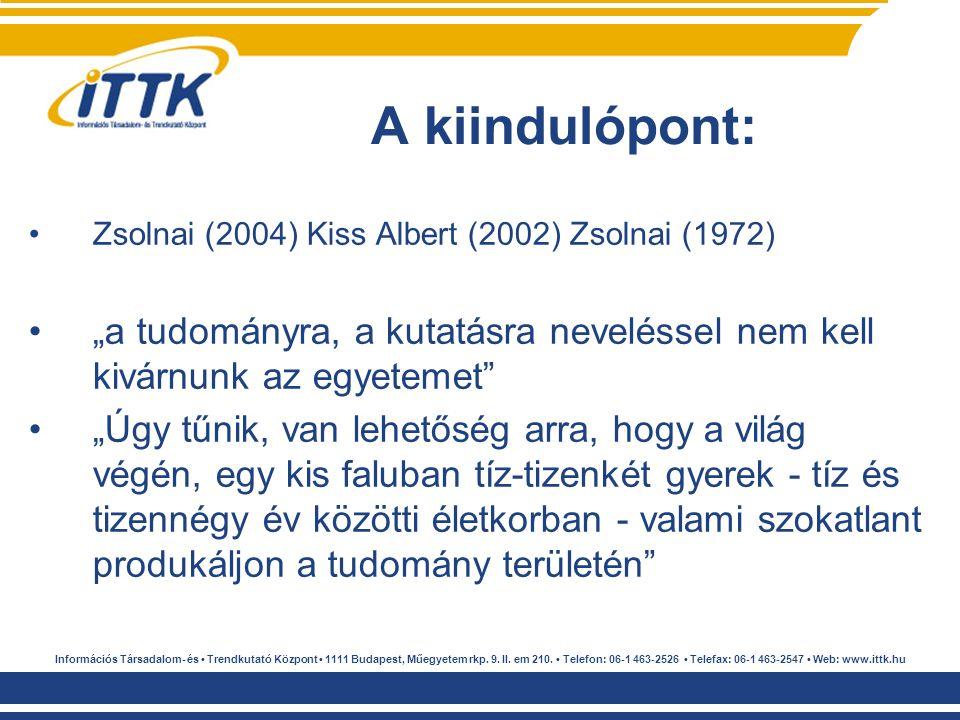 """Zsolnai (2004) Kiss Albert (2002) Zsolnai (1972) """"a tudományra, a kutatásra neveléssel nem kell kivárnunk az egyetemet"""" """"Úgy tűnik, van lehetőség arra"""