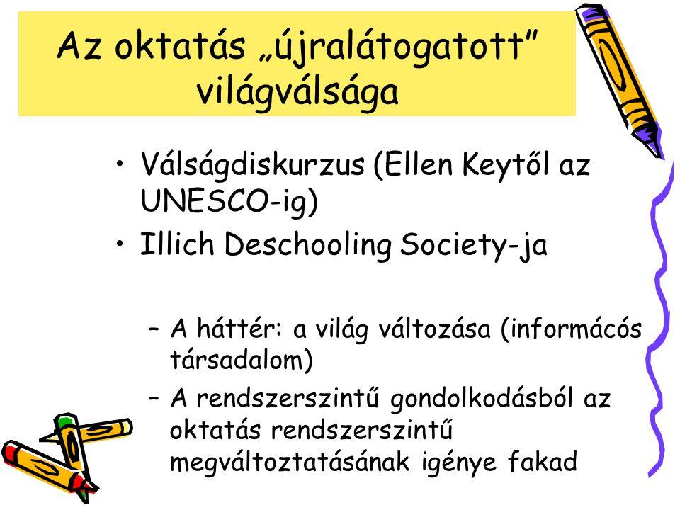"""Az oktatás """"újralátogatott világválsága Válságdiskurzus (Ellen Keytől az UNESCO-ig) Illich Deschooling Society-ja –A háttér: a világ változása (informácós társadalom) –A rendszerszintű gondolkodásból az oktatás rendszerszintű megváltoztatásának igénye fakad"""