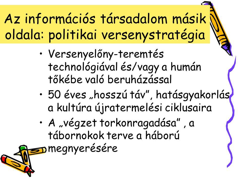 Kitérő: Eötvös, Kármán, Trefort, mint információstratégák Elvi kiindulópont (vízió- vezéreltség) Normatívan emelkedő költségvetési támogatás: elismert kormányzati prioritás Foltokban világszínvonal Óriási, mai napig tartó transzformációs hatás