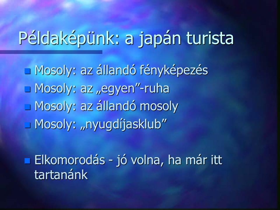 """Példaképünk: a japán turista n Mosoly: az állandó fényképezés n Mosoly: az """"egyen -ruha n Mosoly: az állandó mosoly n Mosoly: """"nyugdíjasklub n Elkomorodás - jó volna, ha már itt tartanánk"""