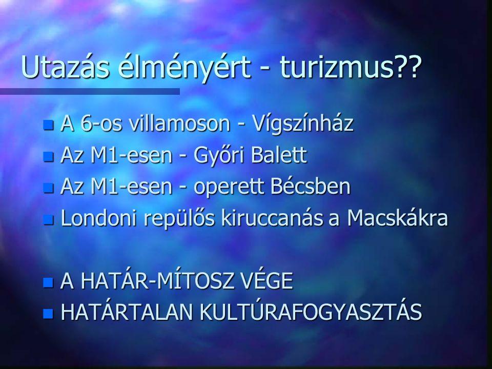 Utazás élményért - turizmus?? n A 6-os villamoson - Vígszínház n Az M1-esen - Győri Balett n Az M1-esen - operett Bécsben n Londoni repülős kiruccanás