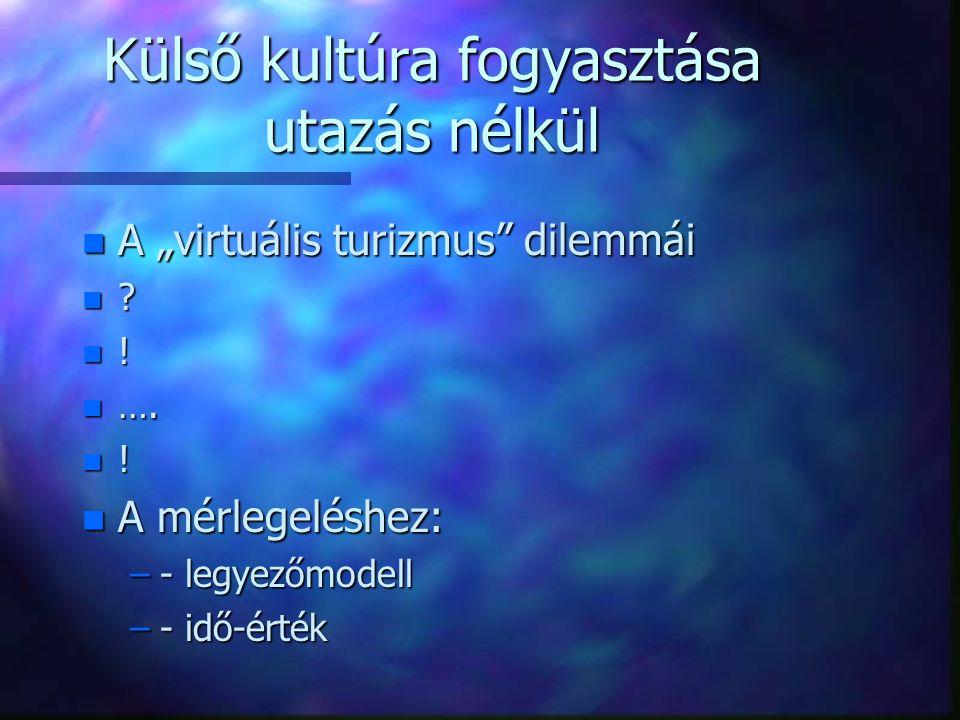 """Külső kultúra fogyasztása utazás nélkül n A """"virtuális turizmus dilemmái n ."""