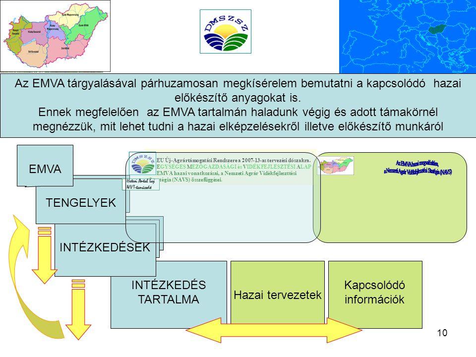 10 Kapcsolódó információk INTÉZKEDÉS TARTALMA Hazai tervezetek Az EMVA tárgyalásával párhuzamosan megkísérelem bemutatni a kapcsolódó hazai előkészítő anyagokat is.