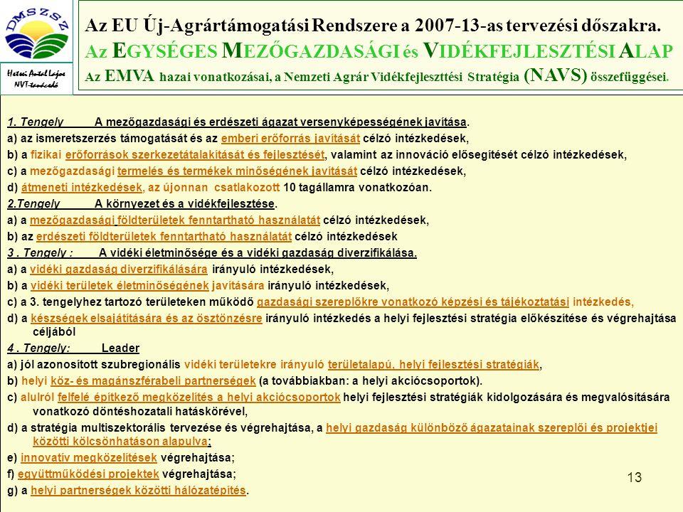 13 Az EU Új-Agrártámogatási Rendszere a 2007-13-as tervezési dőszakra.