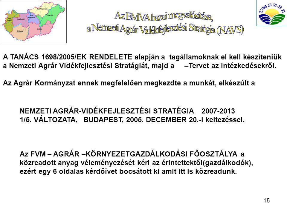 15 A TANÁCS 1698/2005/EK RENDELETE alapján a tagállamoknak el kell készíteniük a Nemzeti Agrár Vidékfejlesztési Stratágiát, majd a –Tervet az Intézkedésekről.