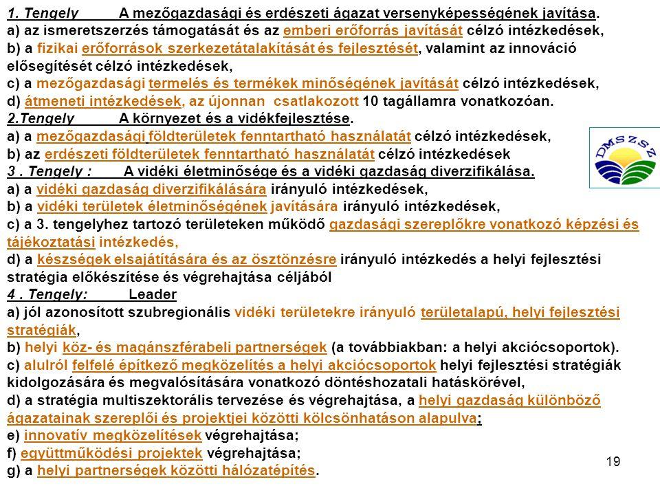 19 1.Tengely A mezőgazdasági és erdészeti ágazat versenyképességének javítása.