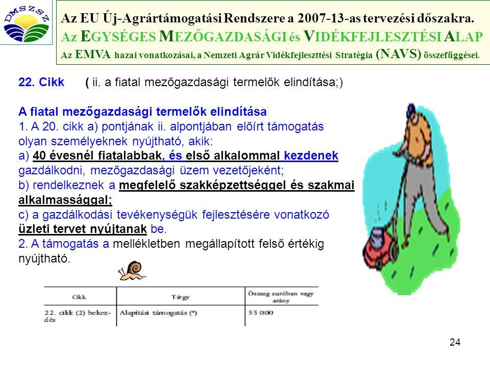 24 Az EU Új-Agrártámogatási Rendszere a 2007-13-as tervezési dőszakra.