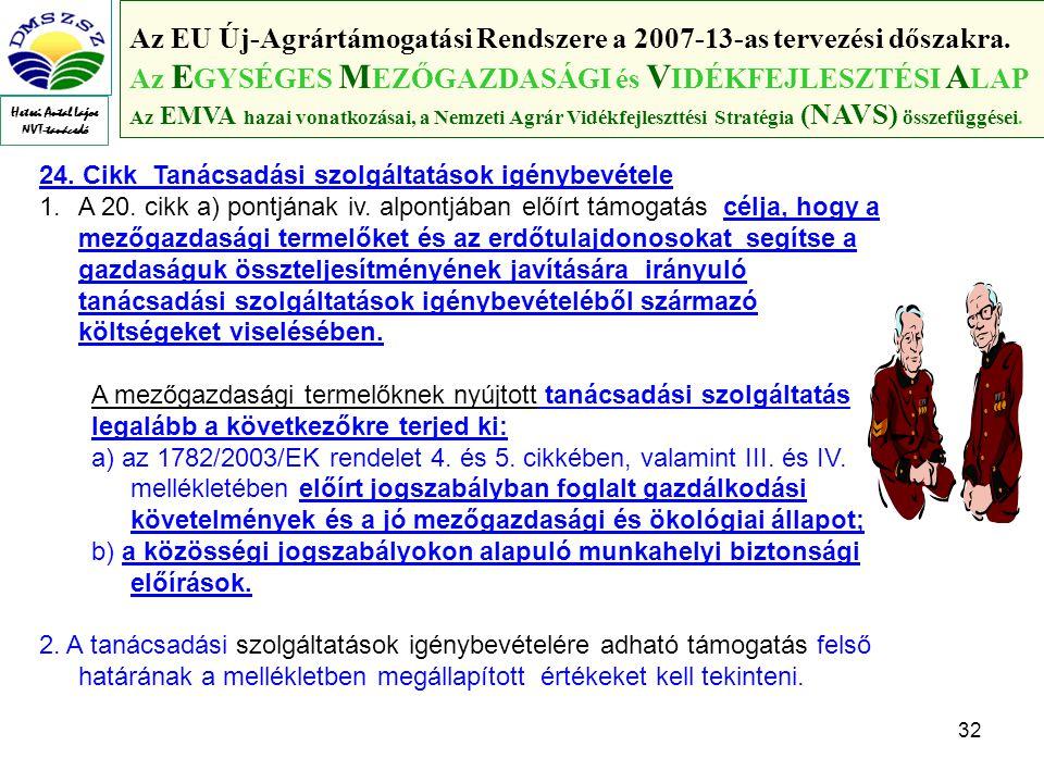 32 Az EU Új-Agrártámogatási Rendszere a 2007-13-as tervezési dőszakra.
