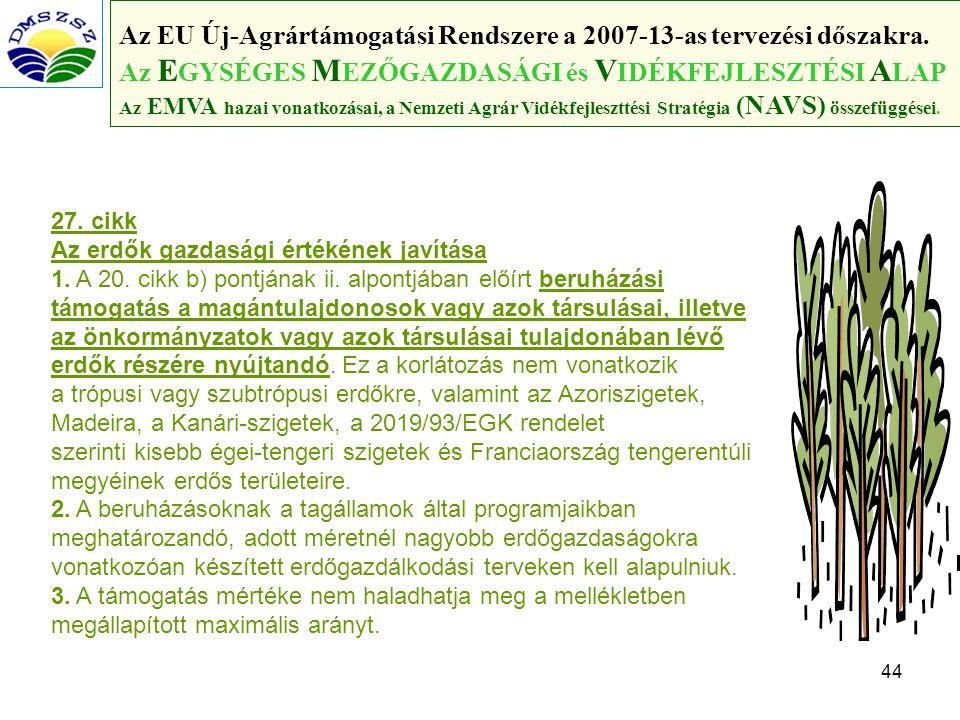 44 Az EU Új-Agrártámogatási Rendszere a 2007-13-as tervezési dőszakra.