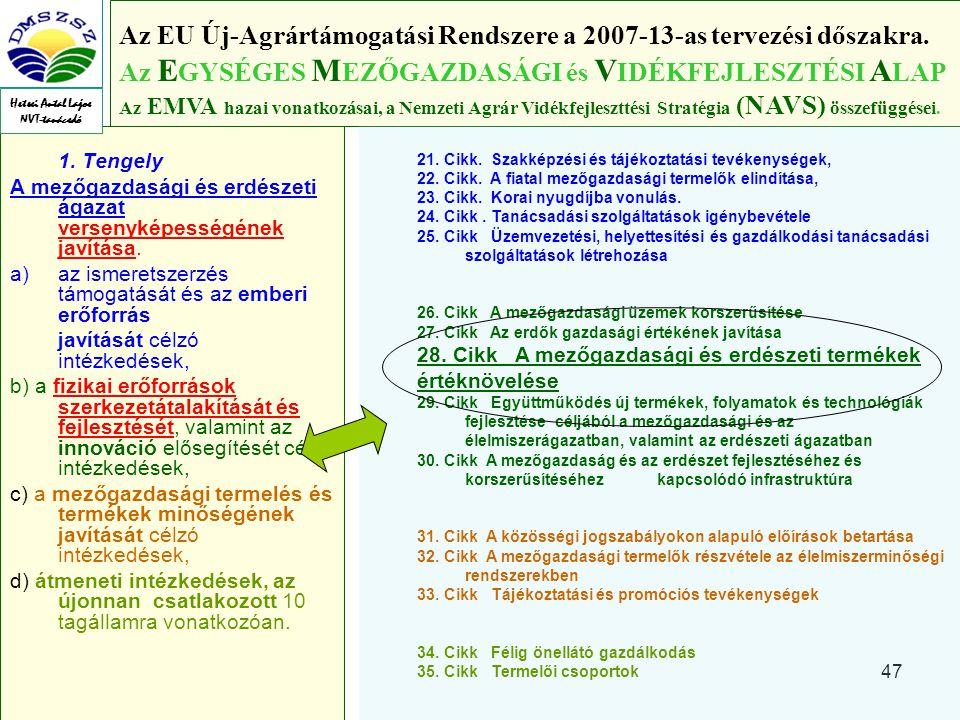 47 1.Tengely A mezőgazdasági és erdészeti ágazat versenyképességének javítása.