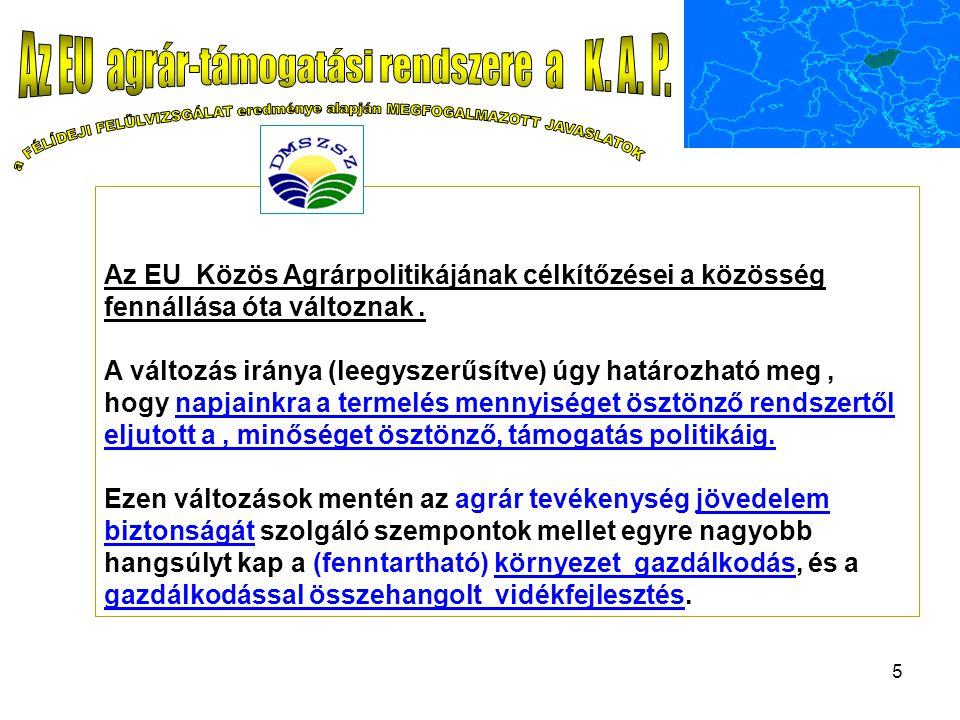 5 Az EU Közös Agrárpolitikájának célkítőzései a közösség fennállása óta változnak.
