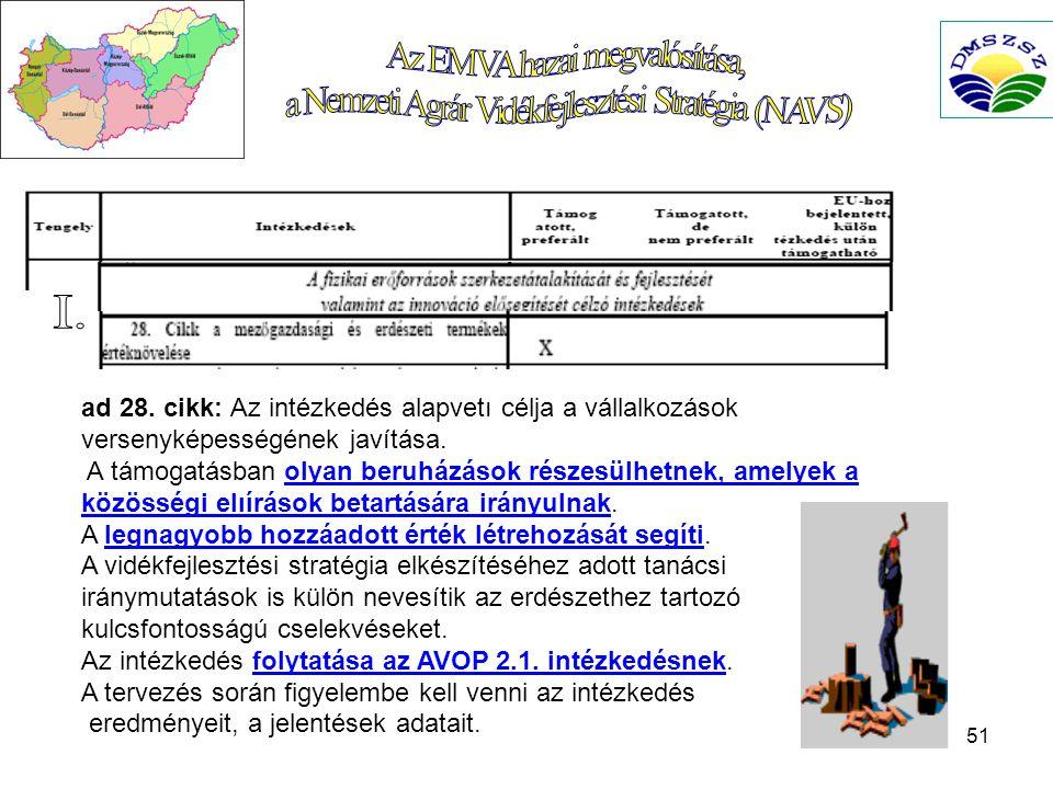 51 ad 28.cikk: Az intézkedés alapvetı célja a vállalkozások versenyképességének javítása.