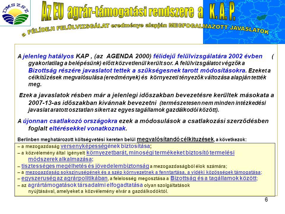 6 A jelenleg hatályos KAP, (az AGENDA 2000) félidejű felülvizsgálatára 2002 évben ( gyakorlatilag a belépésünk) előtt közvetlenül került sor.