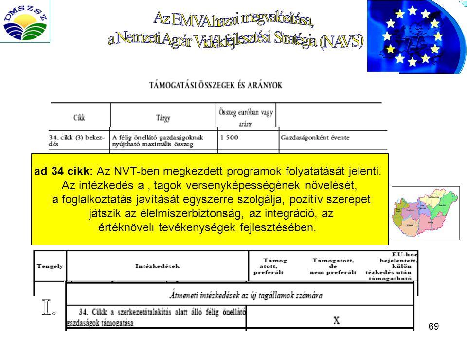 69 ad 34 cikk: Az NVT-ben megkezdett programok folyatatását jelenti.