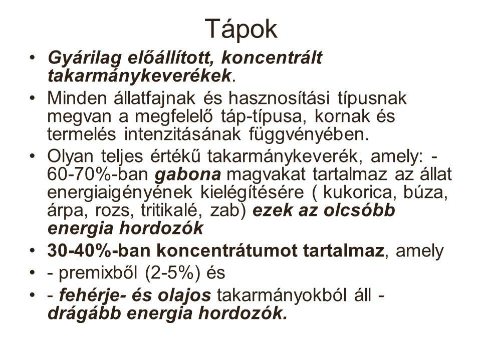Tápok összetétele 1.Premixek (vitamin, ásványi anyag) 2.