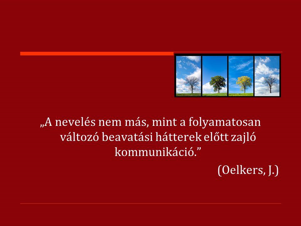 """""""A nevelés nem más, mint a folyamatosan változó beavatási hátterek előtt zajló kommunikáció."""" (Oelkers, J.)"""