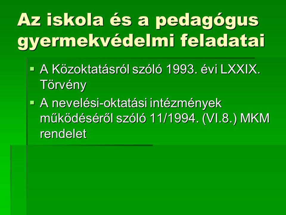 Az iskola és a pedagógus gyermekvédelmi feladatai  A Közoktatásról szóló 1993.