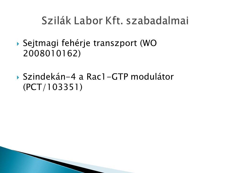  Sejtmagi fehérje transzport (WO 2008010162)  Szindekán-4 a Rac1-GTP modulátor (PCT/103351)