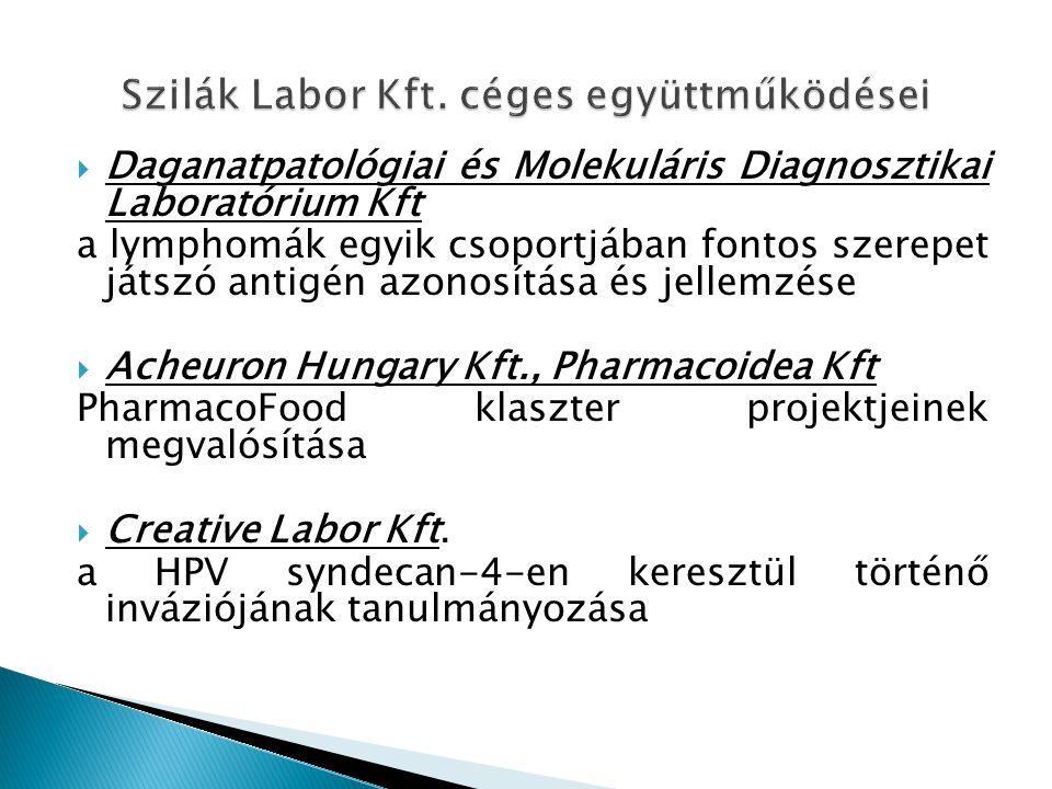  Daganatpatológiai és Molekuláris Diagnosztikai Laboratórium Kft a lymphomák egyik csoportjában fontos szerepet játszó antigén azonosítása és jellemzése  Acheuron Hungary Kft., Pharmacoidea Kft PharmacoFood klaszter projektjeinek megvalósítása  Creative Labor Kft.