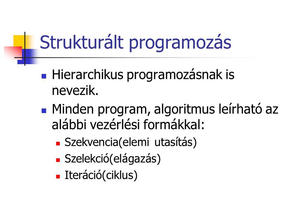 Strukturált programozás Hierarchikus programozásnak is nevezik.