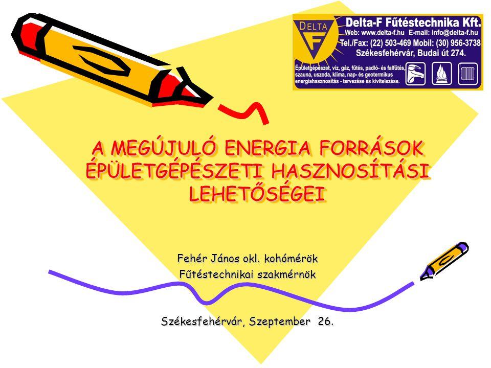 A MEGÚJULÓ ENERGIA FORRÁSOK ÉPÜLETGÉPÉSZETI HASZNOSÍTÁSI LEHETŐSÉGEI Fehér János okl.
