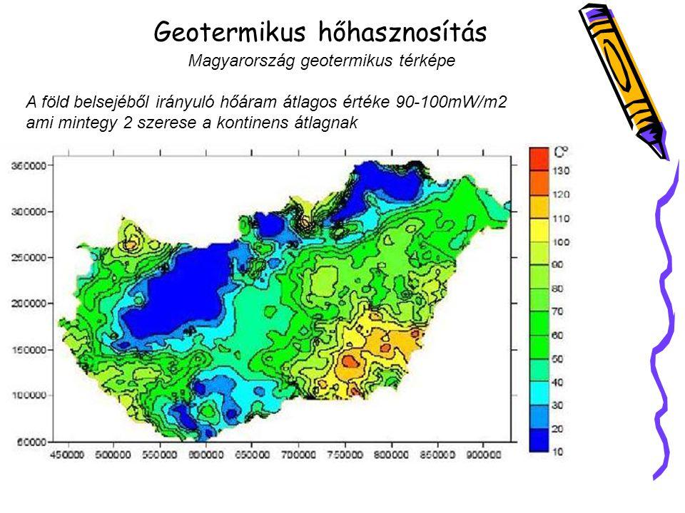 Geotermikus hőhasznosítás Magyarország geotermikus térképe A föld belsejéből irányuló hőáram átlagos értéke 90-100mW/m2 ami mintegy 2 szerese a kontinens átlagnak