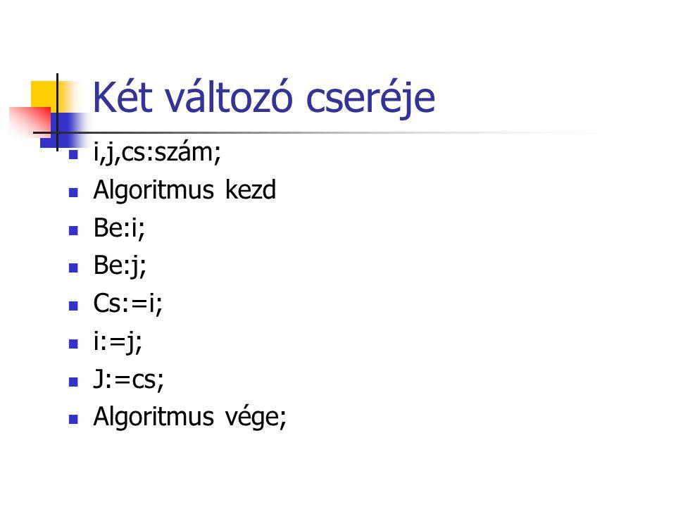 Két változó cseréje i,j,cs:szám; Algoritmus kezd Be:i; Be:j; Cs:=i; i:=j; J:=cs; Algoritmus vége;
