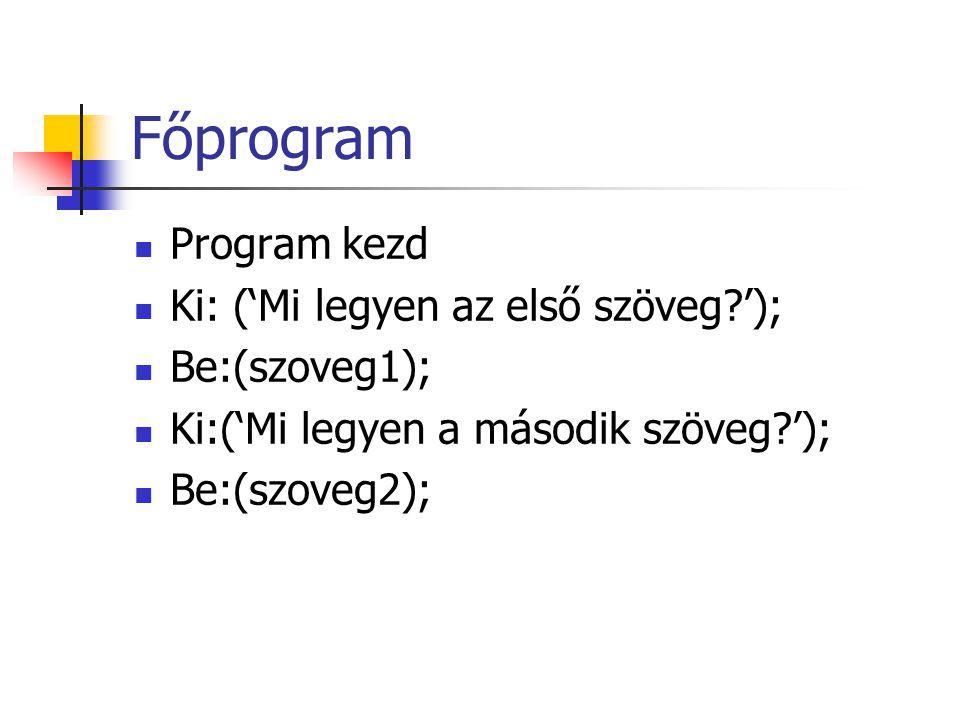 Főprogram Program kezd Ki: ('Mi legyen az első szöveg?'); Be:(szoveg1); Ki:('Mi legyen a második szöveg?'); Be:(szoveg2);