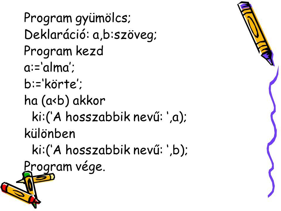 Program gyümölcs; Deklaráció: a,b:szöveg; Program kezd a:='alma'; b:='körte'; ha (a<b) akkor ki:('A hosszabbik nevű: ',a); különben ki:('A hosszabbik