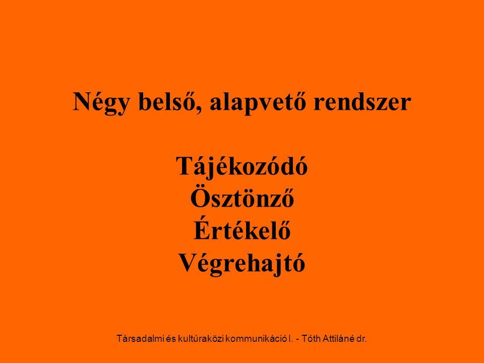 Négy belső, alapvető rendszer Tájékozódó Ösztönző Értékelő Végrehajtó Társadalmi és kultúraközi kommunikáció I. - Tóth Attiláné dr.