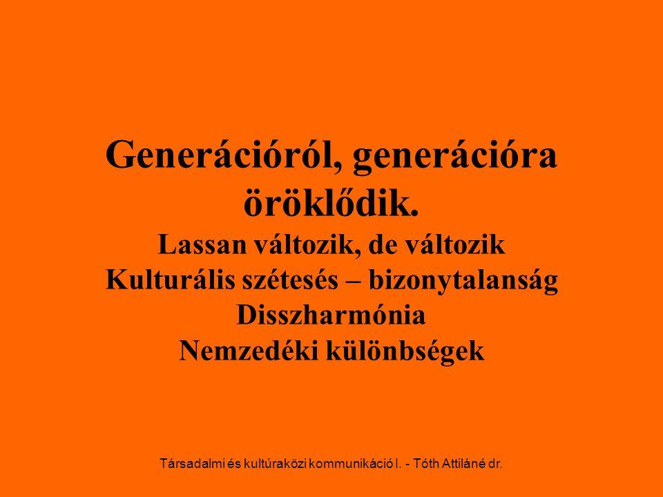 Generációról, generációra öröklődik. Lassan változik, de változik Kulturális szétesés – bizonytalanság Disszharmónia Nemzedéki különbségek Társadalmi