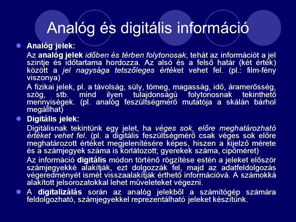 Analóg és digitális információ Analóg jelek: Az analóg jelek időben és térben folytonosak, tehát az információt a jel szintje és időtartama hordozza.