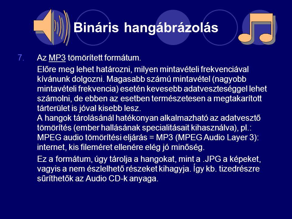 Bináris hangábrázolás 7.Az MP3 tömörített formátum. Előre meg lehet határozni, milyen mintavételi frekvenciával kívánunk dolgozni. Magasabb számú mint