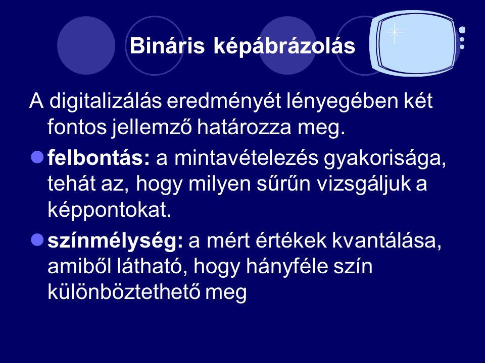 Bináris képábrázolás A digitalizálás eredményét lényegében két fontos jellemző határozza meg. felbontás: a mintavételezés gyakorisága, tehát az, hogy