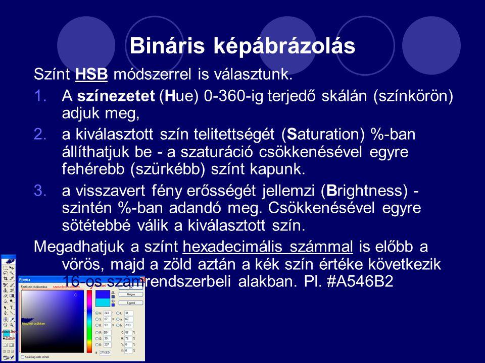 Bináris képábrázolás Színt HSB módszerrel is választunk.