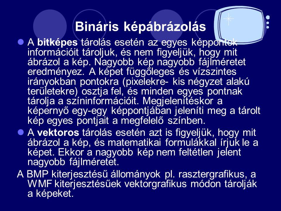 Bináris képábrázolás A bitképes tárolás esetén az egyes képpontok információit tároljuk, és nem figyeljük, hogy mit ábrázol a kép.